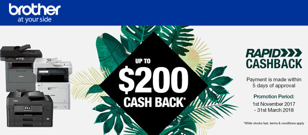 Brother CashBack Until 31 Mar 2018