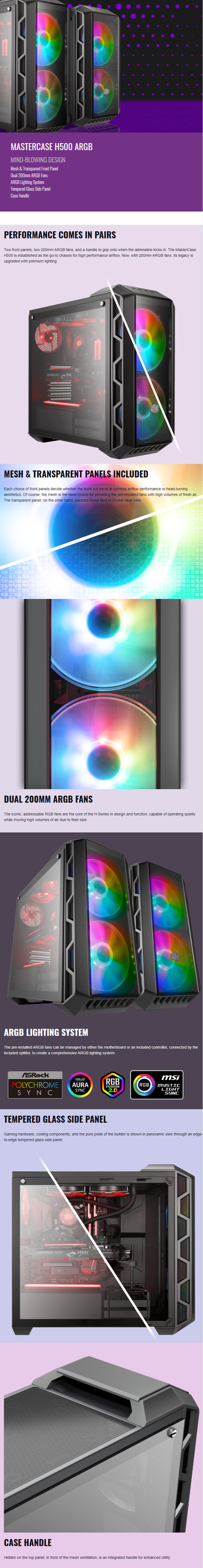 Cooler Master MCM-H500-IGNN-S01 MasterCase H500 A.RGB Tempered Glass MESH & TRANSPARENT